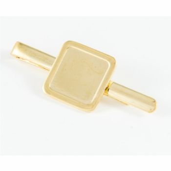 Tie Slide Blank 16mm Square Gold and clear dome